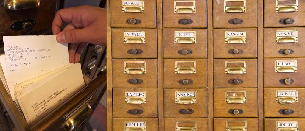 Rikhardinkadun kirjasto korttiluettelo kortisto