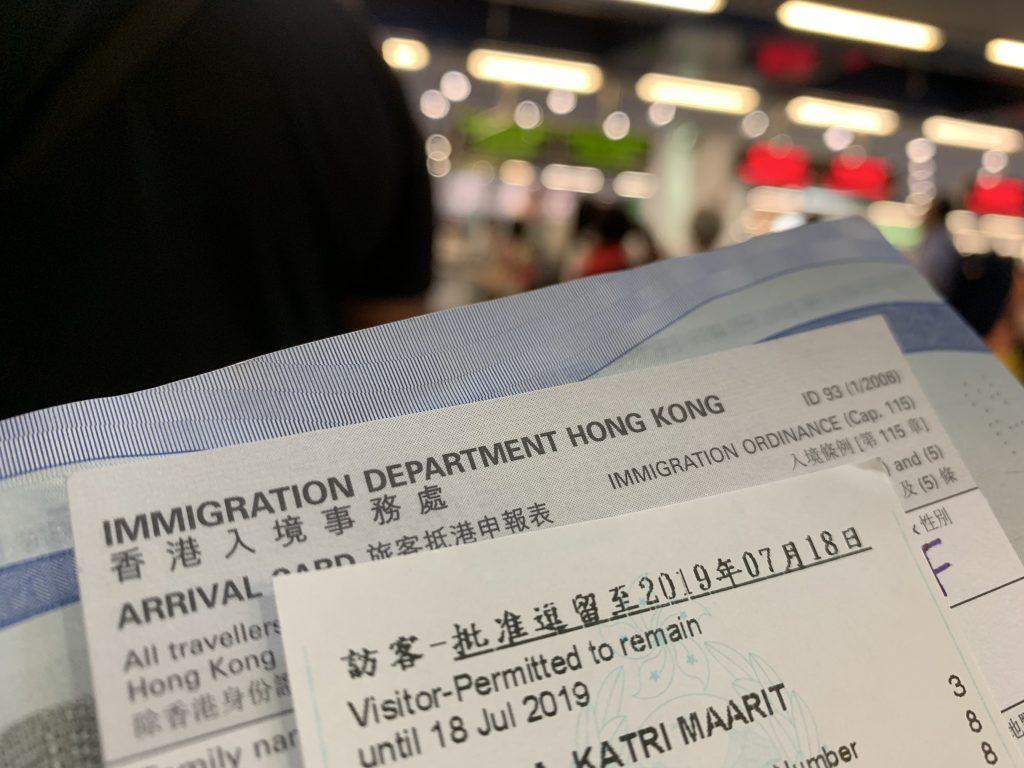 arrival card Hongkong
