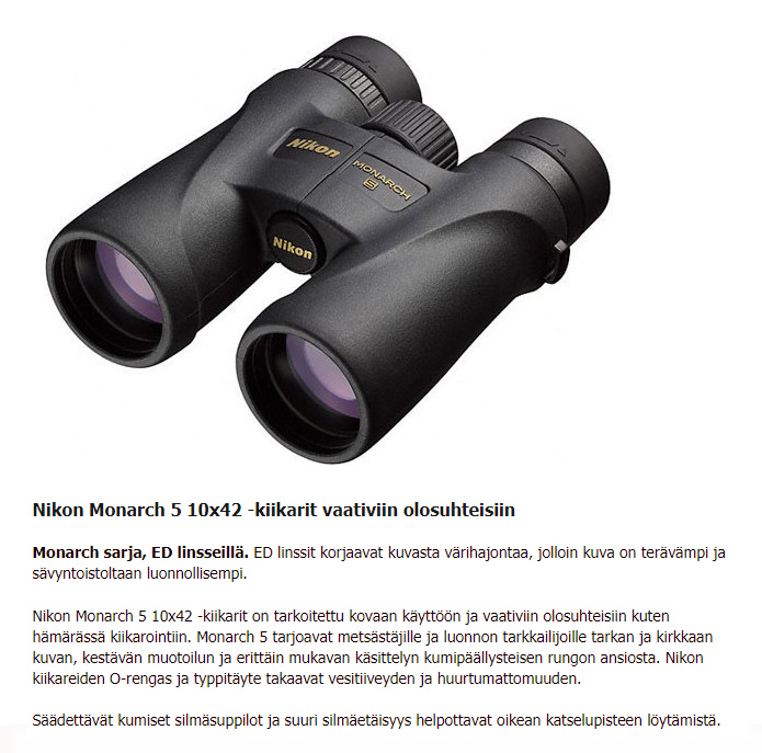 Nikon Monarch kiikarit