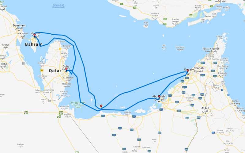 Royal Caribbean reitti route Persianlahti Persian Gulf