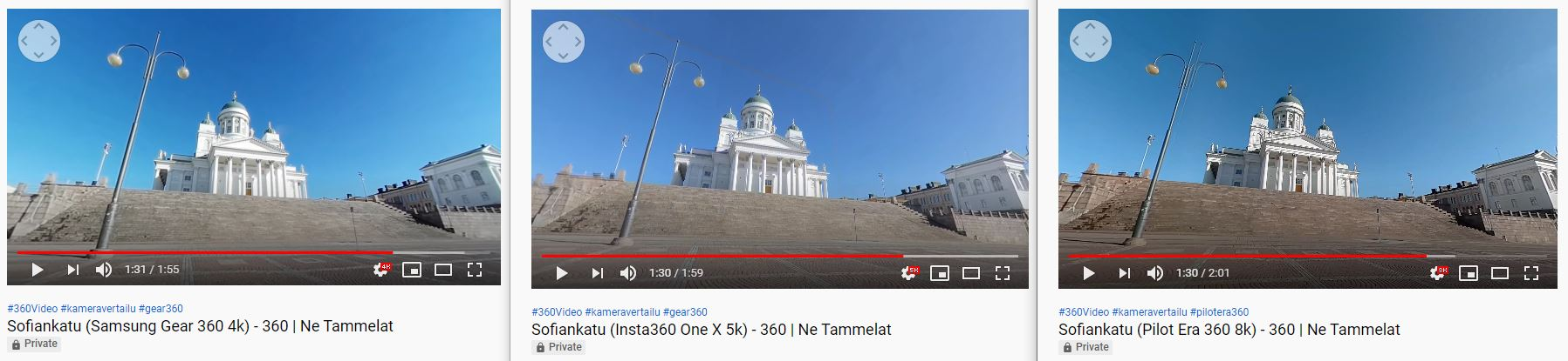 360-video vertailu 4k 5,7k 8k Senaatintori