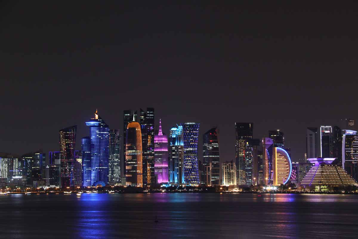 Doha Qatar by night skyline