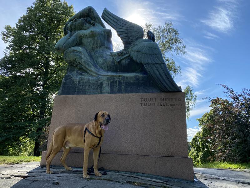 Ilmatar ja sotka Kalevala Helsinki patsas broholminkoira broholmer