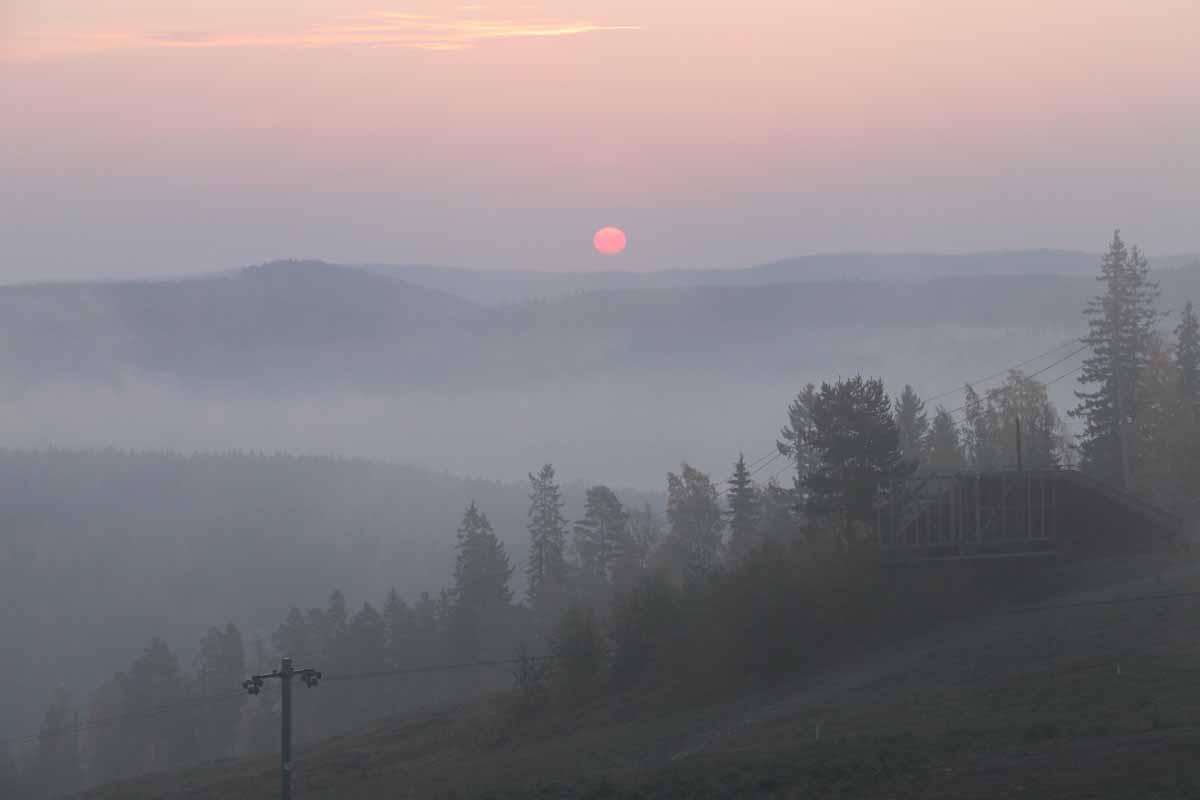 auringonnousu aamu sun rise morning Finland misty forest