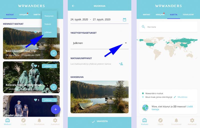 Näin luot Wowanders-matkapäiväkirjan ja löydät vinkkejä Suomesta sekä maailmalta 5