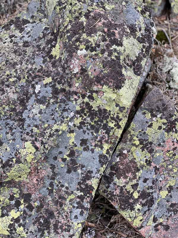 Muinaisen hautaröykkiön värikkäitä kiviä.