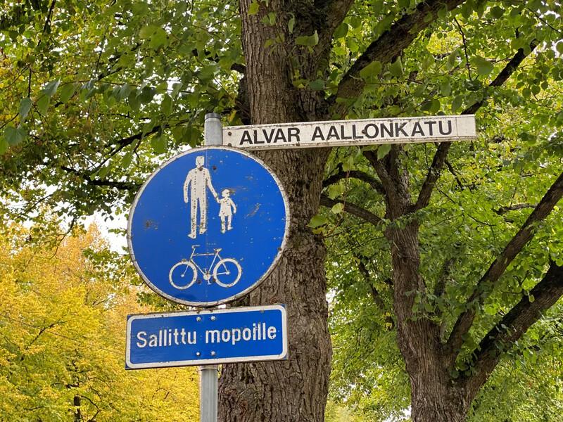 Alvar Aallon kadun kyltti
