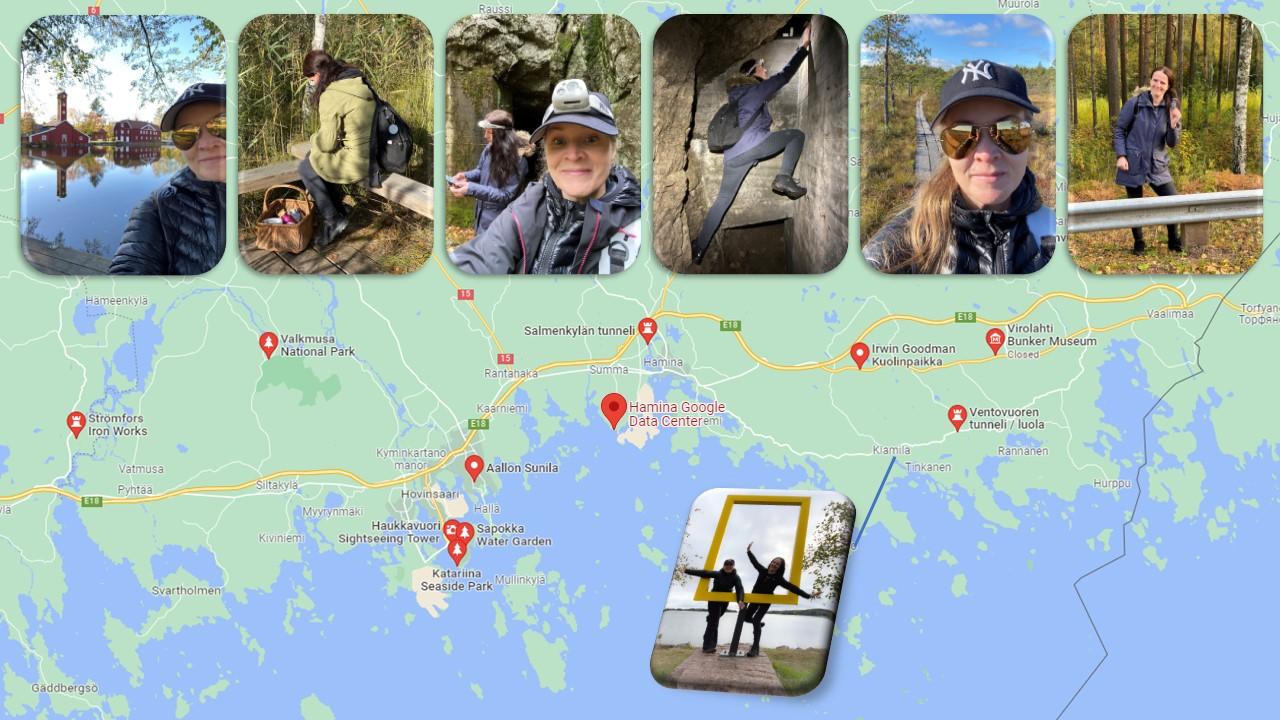 kartta hienoista nähtävyyksistä ja luontokohteista Kymenlaaksossa